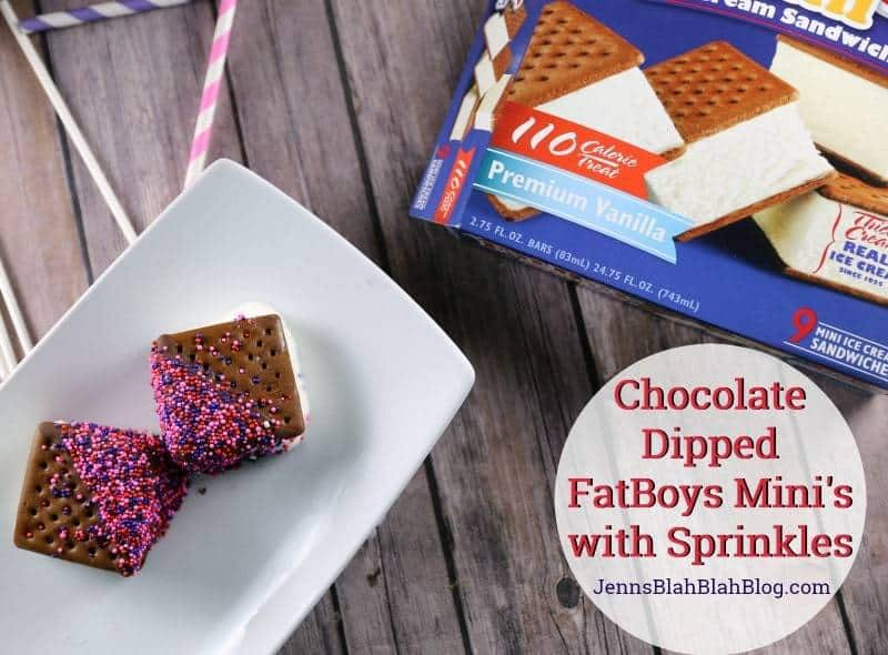 Chocolate Dipped FatBoys Ice Cream Sandwichs Mini's with Sprinkles