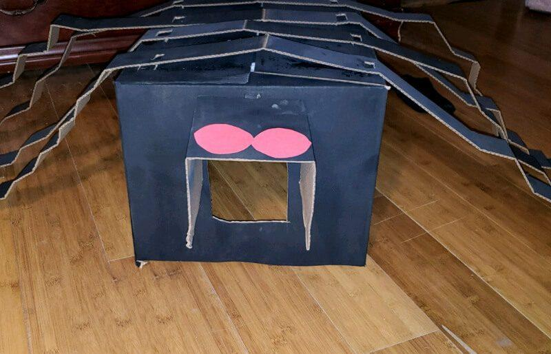 Quick, Affordable Dog Halloween Costume – DIY Box Spider Boxtume