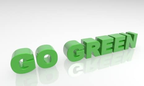 green lettering that says go green