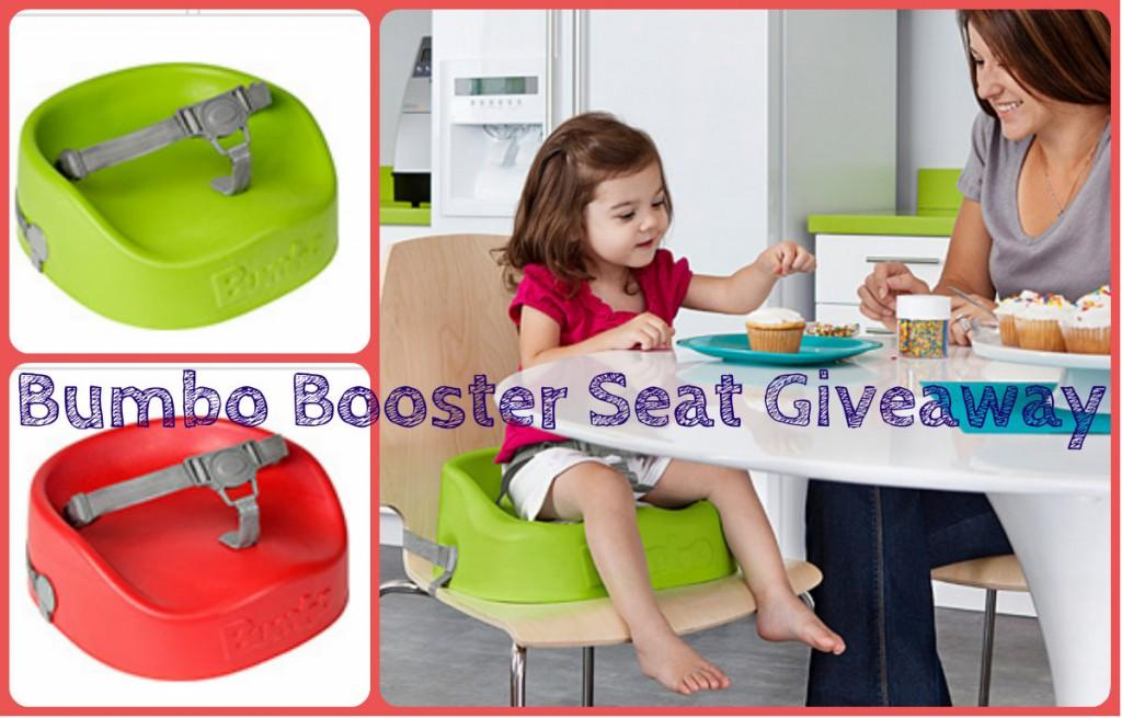 little girl sitting in bumbo booster steat at the table with her mom