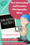 Cartoon man holding camera ready to take pictures with wording to the left that says give interested and creative photography ideas