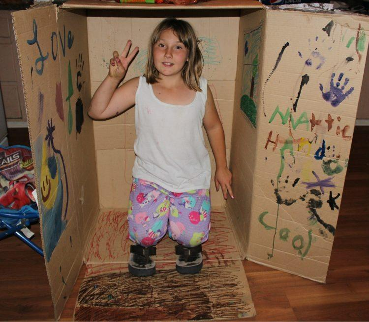kids and boxes