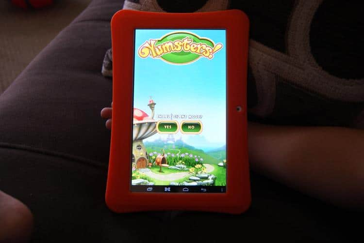 Orange iDeaPlay Tablet with game showing