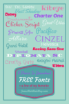 image with 20 different fonts on it telling people places to download free fonts